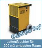 Luftentfeuchter für 200 m3 umbauten Raum