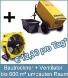 Set Bautrockner TTK 600 + Ventilator